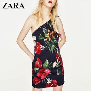 Zara - Printed Dress w/ Asymmetric Hem (NAVY)